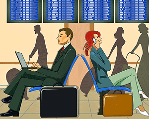 _illustration - business people in airport_