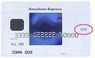 CVC code for American Express (red circled 4 digits on the front)